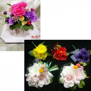 ご注文のコサージュと花かご各種